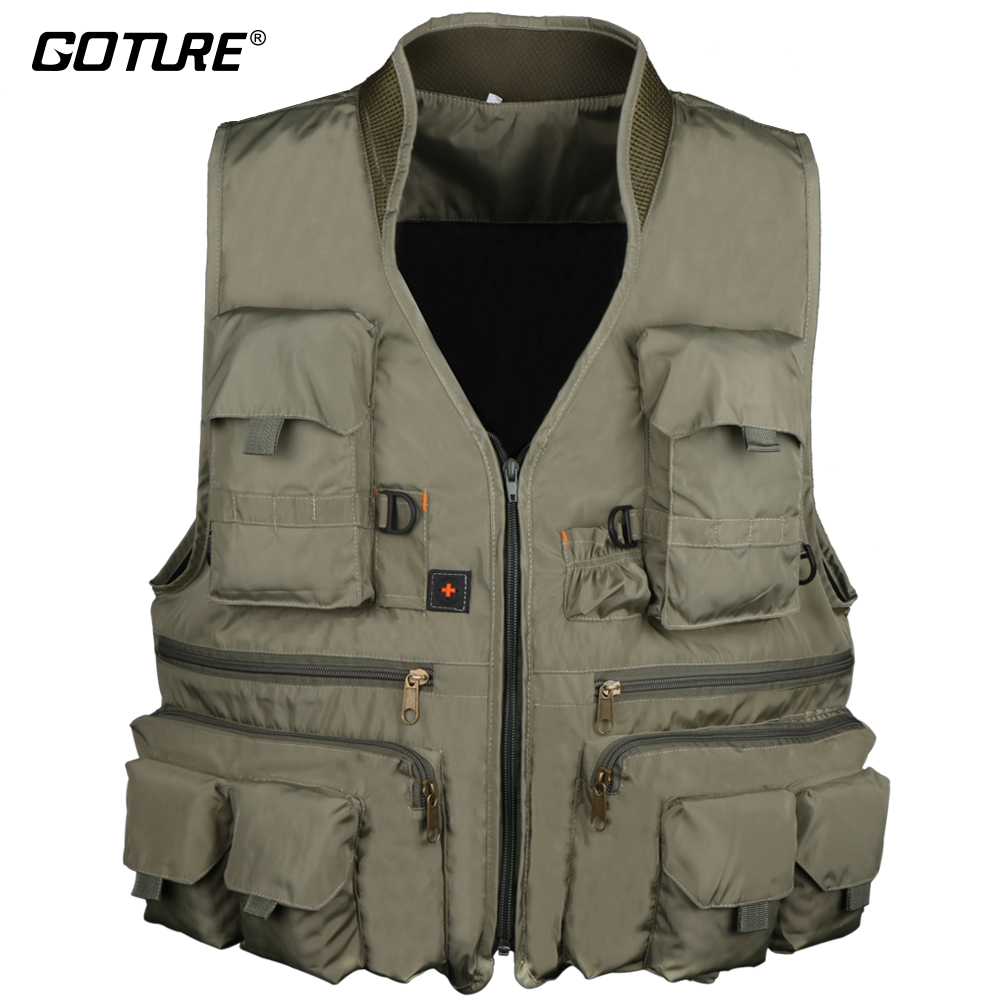 Goture Outdoor Fishing Vest Clothing Multiple Pockets Jacket Mesh Breathable Quick-Dry Hiking Hunting For Fly Fishing X XL XXL multi pockets fishing hunting mesh vest mens outdoor leisure jacket