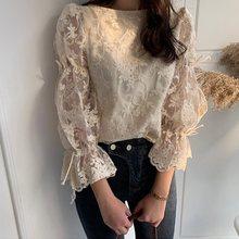 2019 Korean Fashion Vintage Lace Blouse Women Tops Elegant Hook Flower Sexy Flare Sleeve 90s Chic Sweet Slim Female Summer Shirt