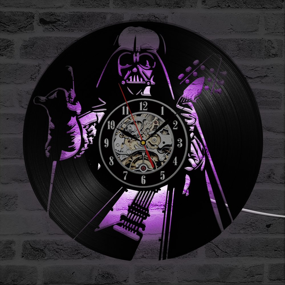 Star Wars Clock Vinyl Wall Clocks LED Lighting Modern Design Antique CD Record Wall Watch Home Decor