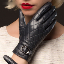 Sheepskin Real Leather Gloves Female Plus Velvet Autumn Winter Keep Warm Diamond Pattern Womans NW701-1