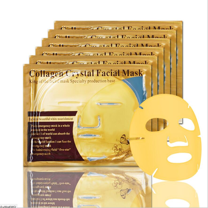 By DHL 100pcs Beauty Skin Care Sheet Mask Gold Collagen Face Mask Whitening Moisturizing Anti Aging Facial Mask lot