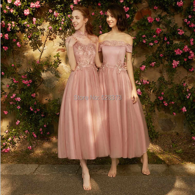d73d2db3e94e2 YNQNFS BD6 Elegant Strapless Sleeveless Vintage Tea Length Bridesmaid  Dresses Party Dress Pale Mauve Real Pictures