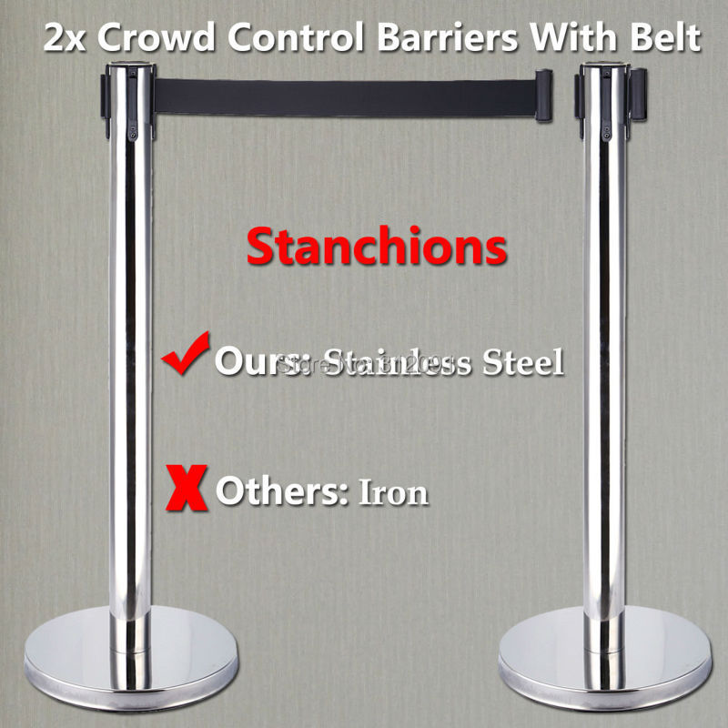 AU Local Shipping ! 2 x Stanchions Posts Silver Queue Pole Retractable Belt Crowd Control Barrier max 5m belt lengthe wall amoutn barrier stanchions retractable betl for area separation