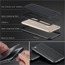Роскошные Алюминий металла Рамки + Натуральная кожа обложка чехол для Apple iPhone 6/6 s 4.7 для iPhone 6 S плюс 5.5 жесткий чехол для телефона