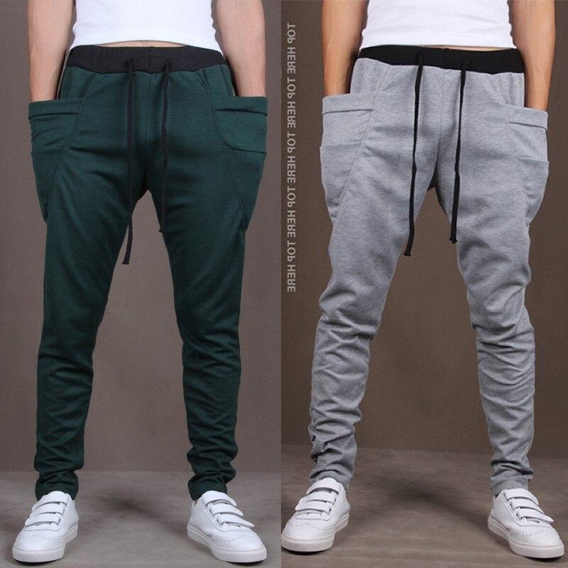 XingDeng мужчин slim досуг длинные штаны спортивные мужские брюки-шаровары карман мода пот уличный стиль Штаны для мальчиков в стиле хип-хоп Штан...