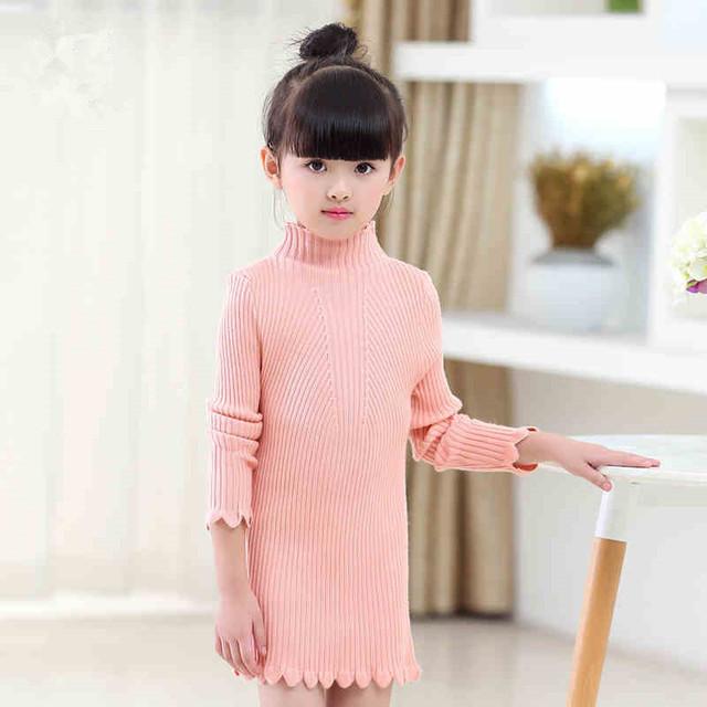 2016 de inverno das crianças roupas meninas blusas gola de renda sólida longa gola bebê menina blusas de tricô para crianças meninas outerwear