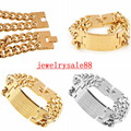 Men's 316L Stainless Steel Jewelry Great Wall Pattern Gold/Silver Tone Plated Double Hand Chain Men Bracelet For Male