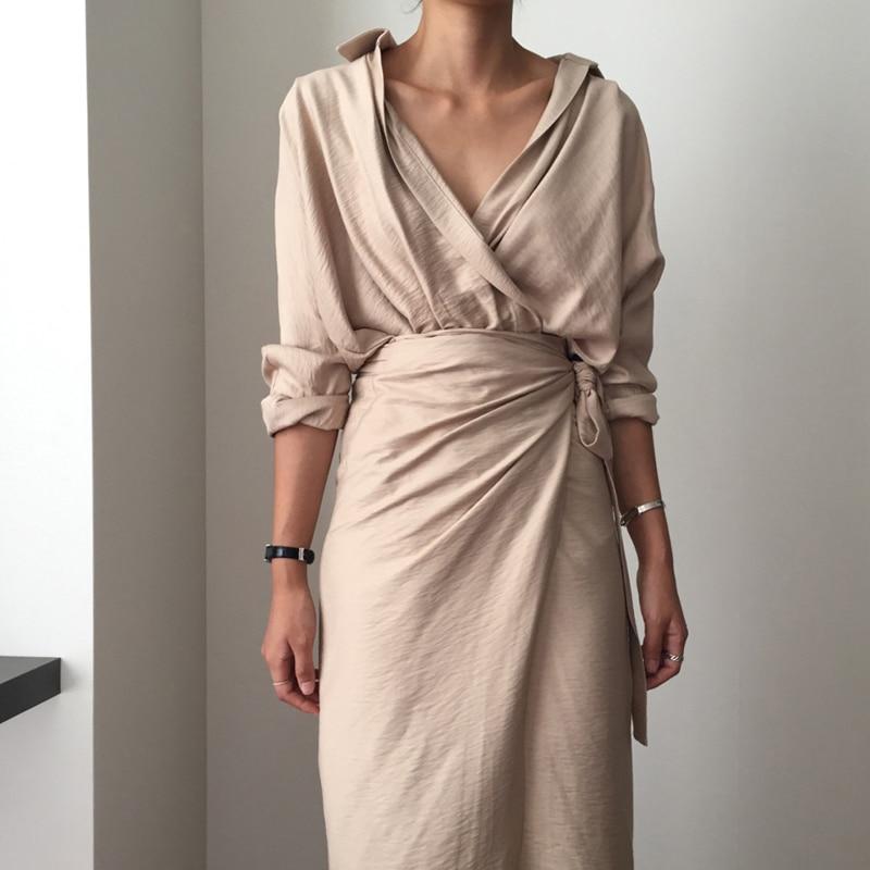 CHICEVER Bow Bandage Dresses For Women V Neck Long Sleeve High Waist Women's Dress Female Elegant Fashion Clothing New 19 31