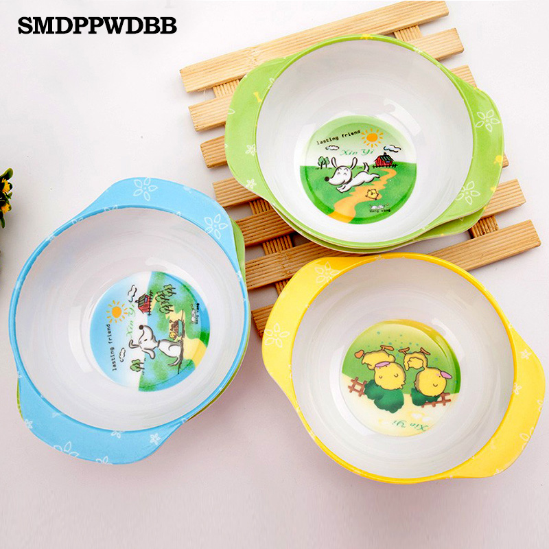 SMDPPWDBB Toddler Baby Kids Baby Feeding Training Bowl Binaural Baby Feeding Set Bowl Tableware Children Plate Bowl კოვზი