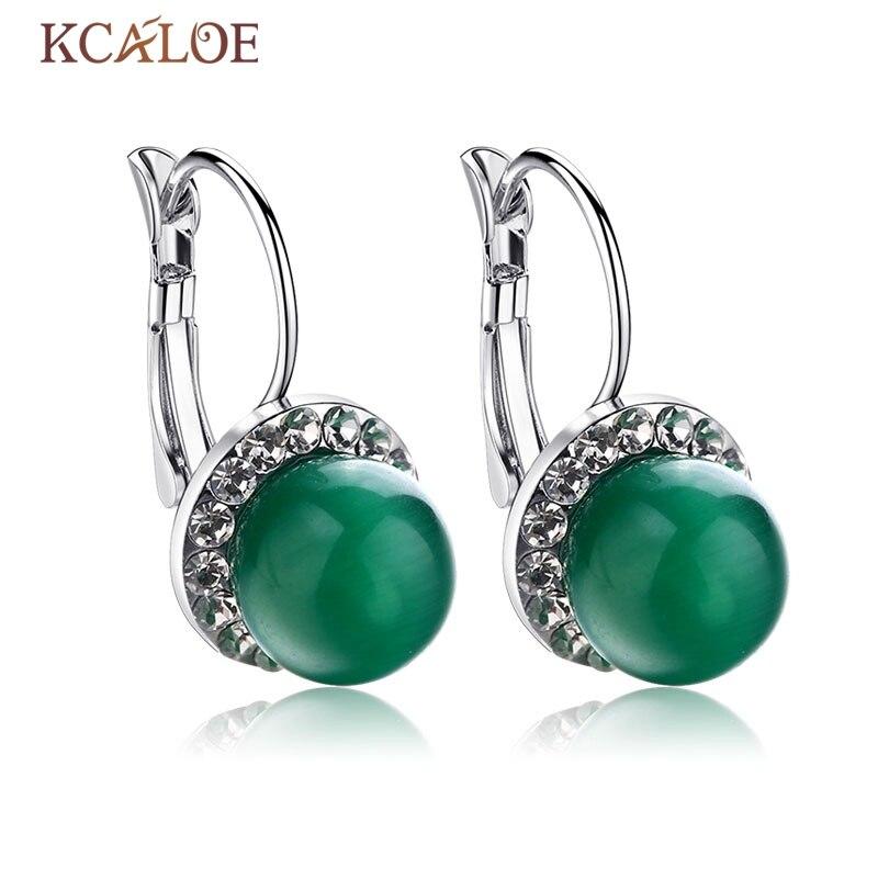 Jewelry Green CZ EarringsSilver Plated Jade Stone Rhinestone font b Earrings b font For font b