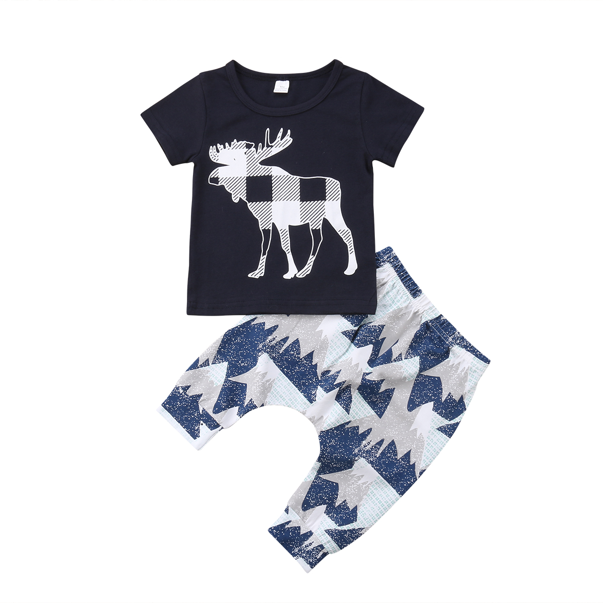 2018 Deer Newborn Christmas Toddler Infant Baby Boy Girl Clothes T Shirt Tops Pants Outfits Set Hot