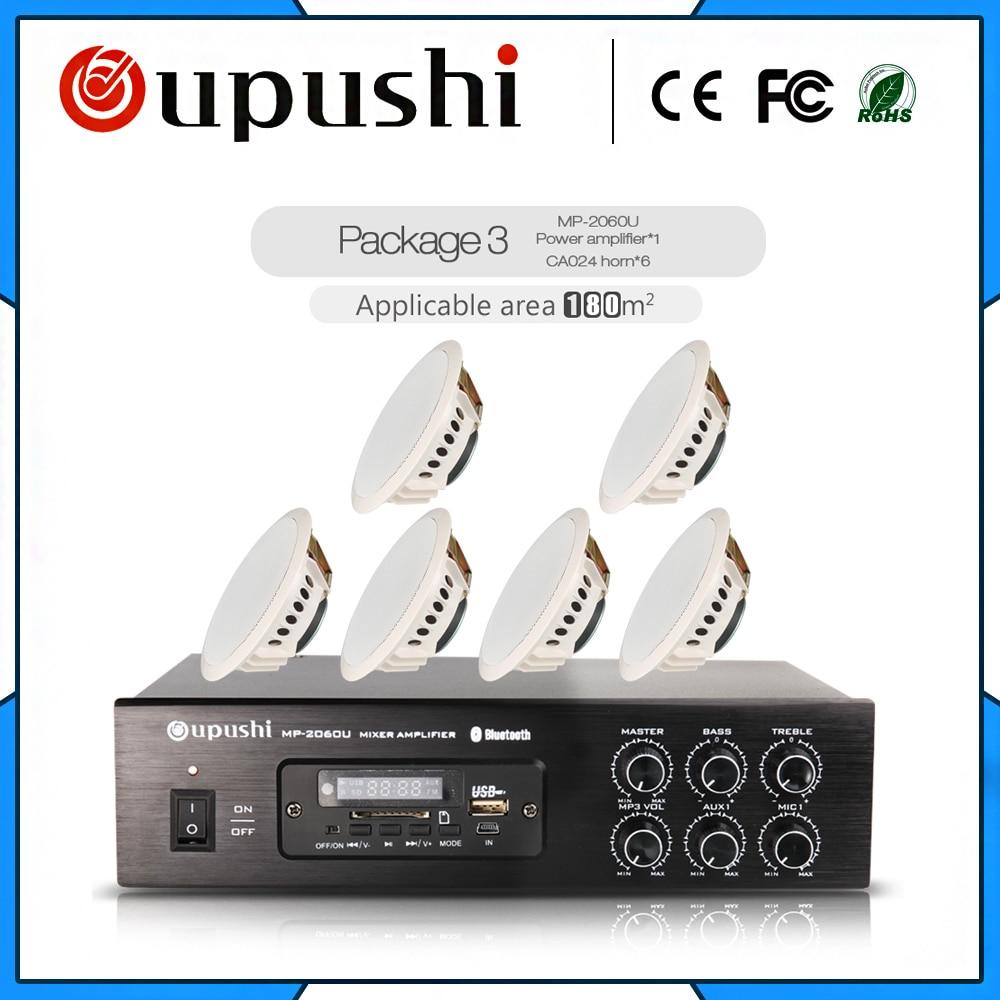 Le système de diffusion publique de musique de fond professionnel amplificateur audio 100 W et haut-parleur de plafond ensemble bluetooth/SD/USB/RADIO