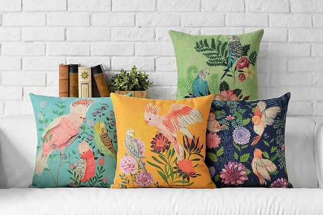 Linen Pillow Cover Cushion Cover Spring Garden Floral Bird  Home Decorative Pillow Case 43x43cm