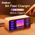 IHaitun LED 8 портов 8A 40 Вт QC 3 0 USB зарядное устройство типа C быстрое зарядное устройство для смартфонов iPhone X XS Samsung S10 Huawei P30 Pro