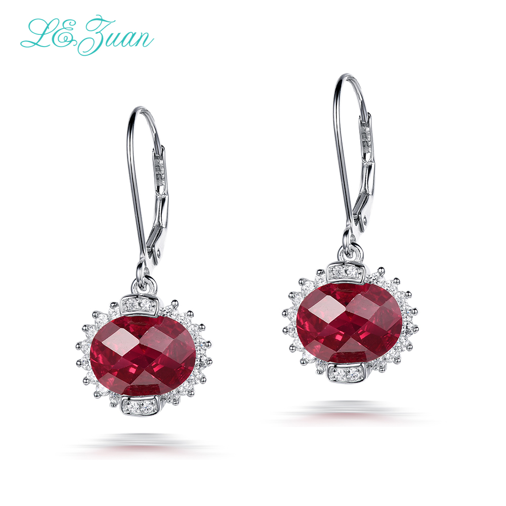 I&zuan Real 925 Sterling Silver Jewelry Drop Earrings 6.87ct Red Stone Checkerboard Cut Lace Luxury Earrings For Women stylish silver plated cut out rhinestone heart earrings for women
