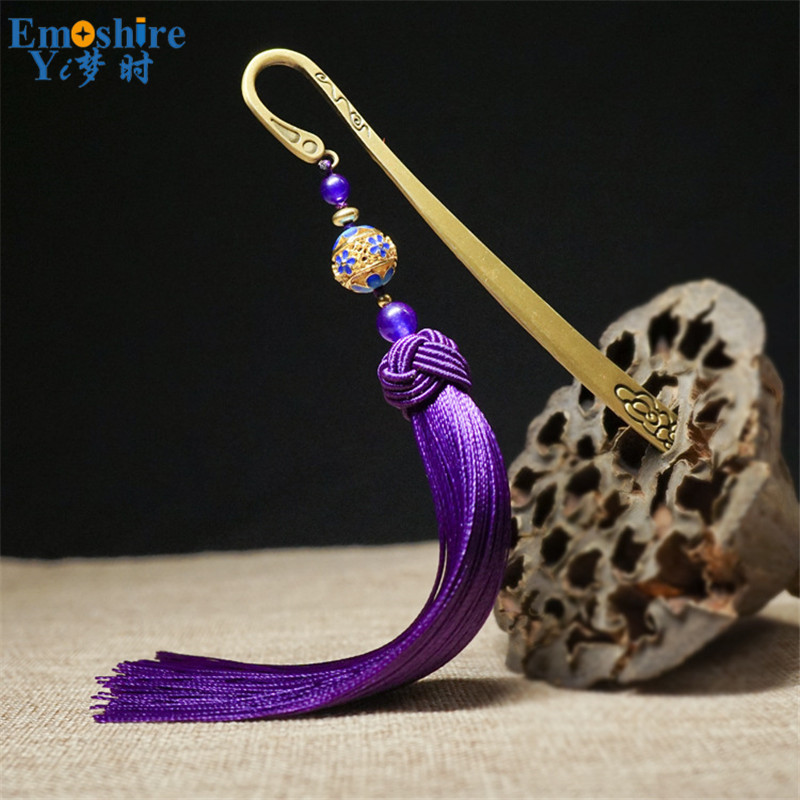 Chinese Style Font Bookmark Purple Tassel Bookmark Metal Bookmark Mark LOGO Graduation Gift For Students M170