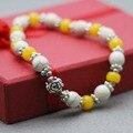 Этническом стиле бирюзовый Tridacna бусины желтый браслет ручной цепи для женщин повелительниц девушок серебряные аксессуары натуральный камень
