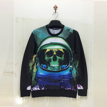 Skeleton head series 3d Sweatshirts men 2016 3D male fantasy star series Sweatshirt Autumn Long Sleeve fashion Hoodie