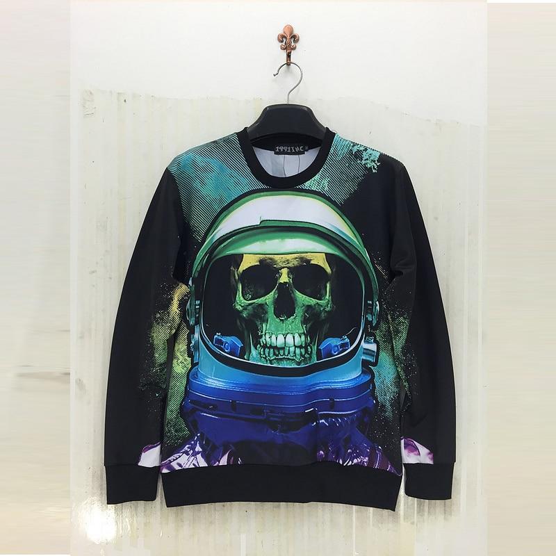 Skeleton head series 3d Sweatshirts men 2016 3D male fantasy star series Sweatshirt Autumn Long Sleeve