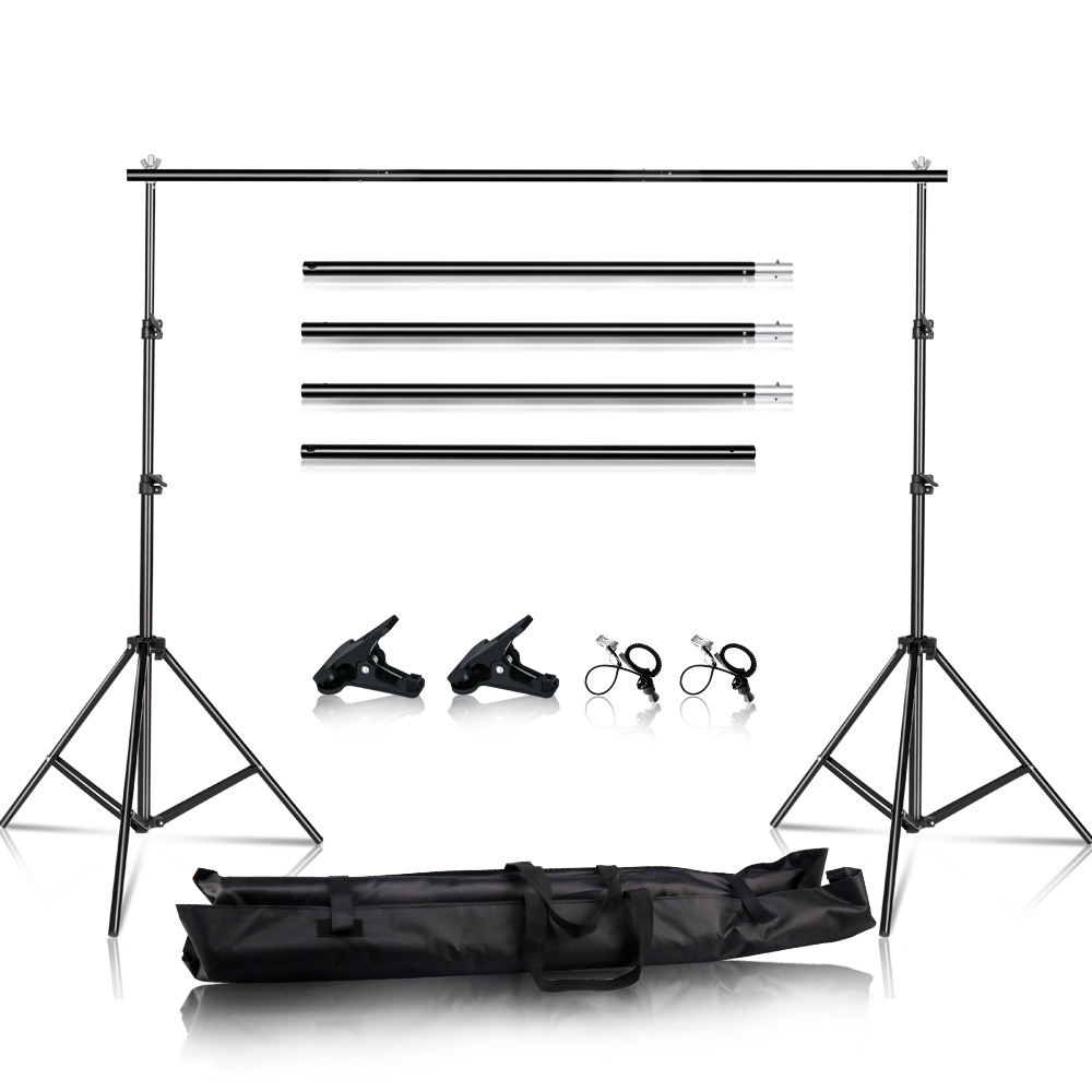 2.6x3M/8.5x10ft Photo Video Studio Backdrop Background Stand, Adjustable Telescopic Background Support System With Carry Bag