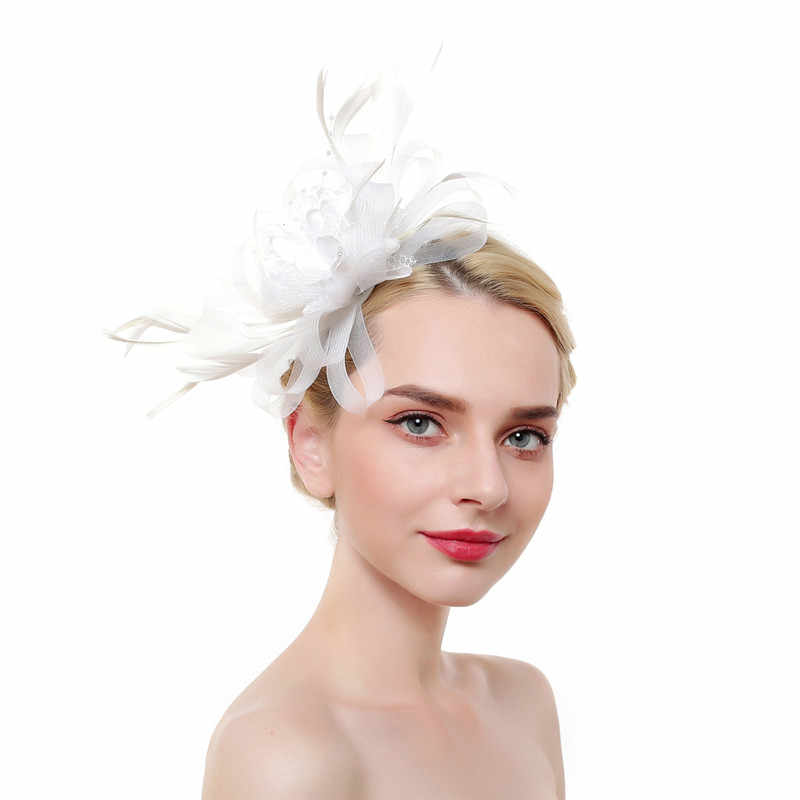 2019 Fedoras Elegant Pink White Wedding Bridal Feather Hat Fascinator Linen  Party Vintage Women Hats for Church sombrero mujer