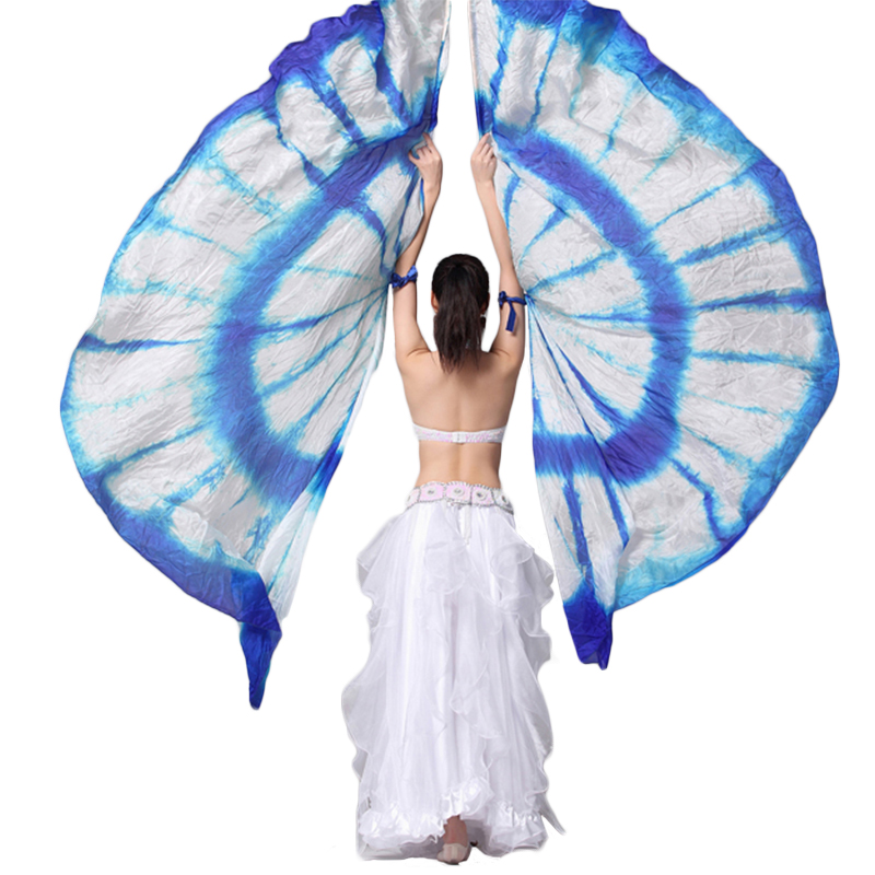 The Best 100% Silk Wings Stage Performance Props 1 Pair Half Moon Silk Veil Dance Colorful Belly Dance Accessories Silk Wings No Sticks Belly Dancing Stage & Dance Wear