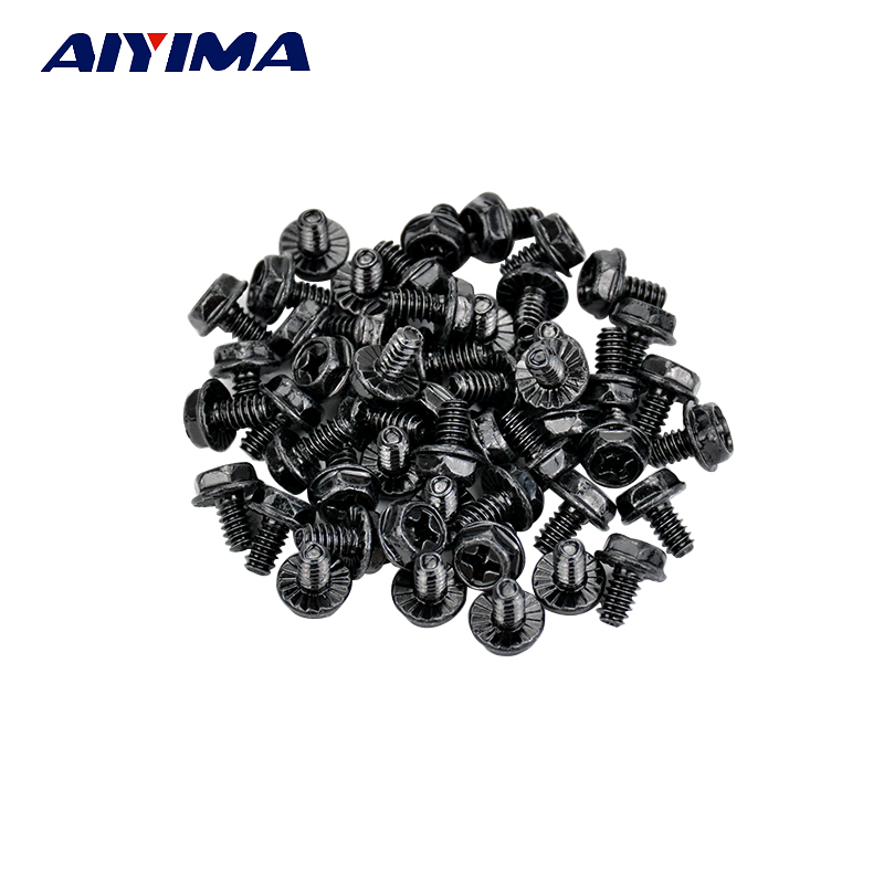 50pcs New Black 6/32 Computer PC Case Screws for Computer Cases niko 50pcs chrome single coil pickup screws