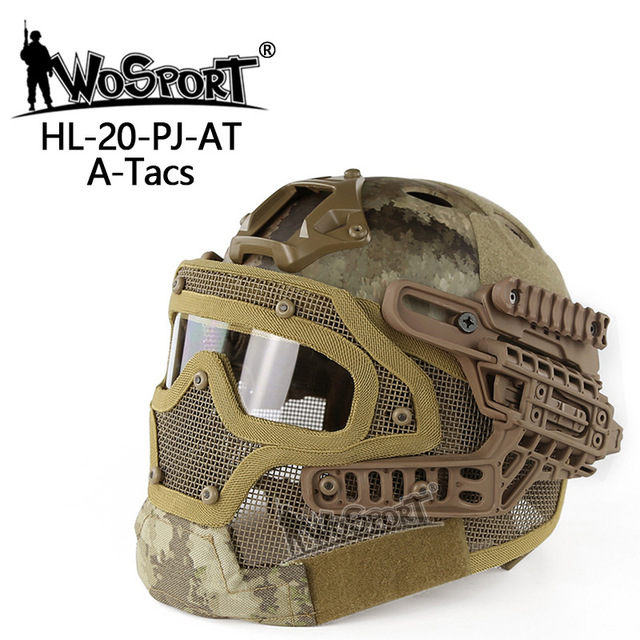 WOSPORT New Tactical Helmet BJ MH PJ ABS Mask with Goggle for Military Airsoft Paintball Army WarGame Motorcycle Cycling Hunting brand new skull skeleton army airsoft tactical paintball full face protection mask