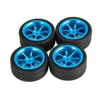 T power 4pcs 65mm Metal Rim Rubber Tires Wheel Tyre for Wltoys 1/18 A949 A959 A969 A979 K929 RC Car Truck Vehicle Model