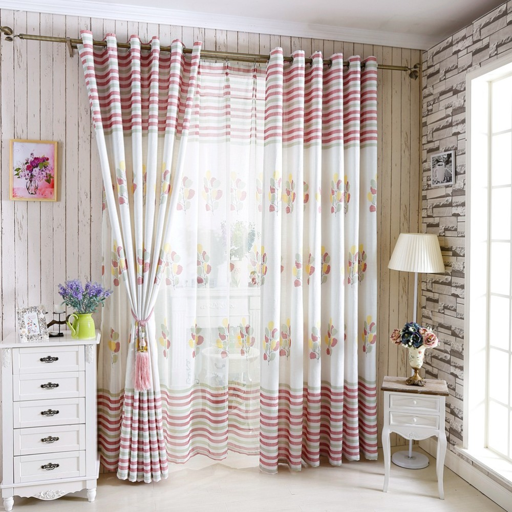 Tree Curtains Linen For Windows Blue Home Kitchen Blinds Gauze Design Leaves Living Room Drapes