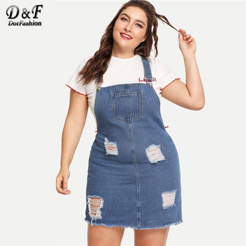 Dotfashion Plus Size Blue Frayed Edge Distressed Denim Overall Dress Women 2019 Casual Summer Clothes Straps Sleeveless Dress