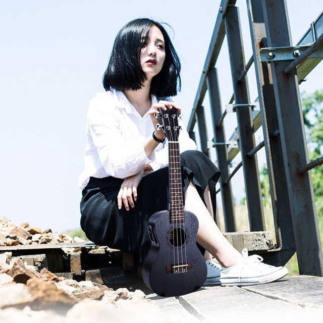23 inch Black Electric Concert Ukulele