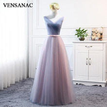 VENSANAC V Neck Bow Sash 2018 Tulle Long Evening Dresses Elegant A Line Lace Pleat Backless Party Prom Gowns