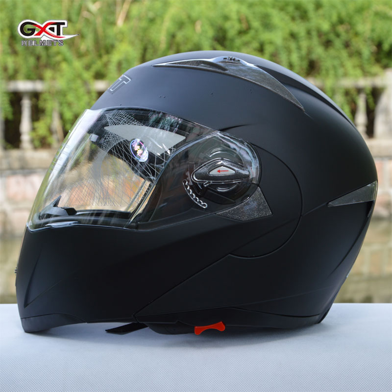 2017 black GXT Flip Up motorcycle helmet double lens undrap face motorbike helmets with anti-fog lens made of ABS size L XL G158