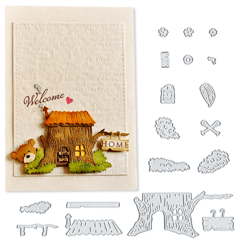 Julyarts Wooden House Metal Cutting Dies for Scrapbooking DIY Paper Crafts Card Making Decoration in Cutting Dies from Home Garden