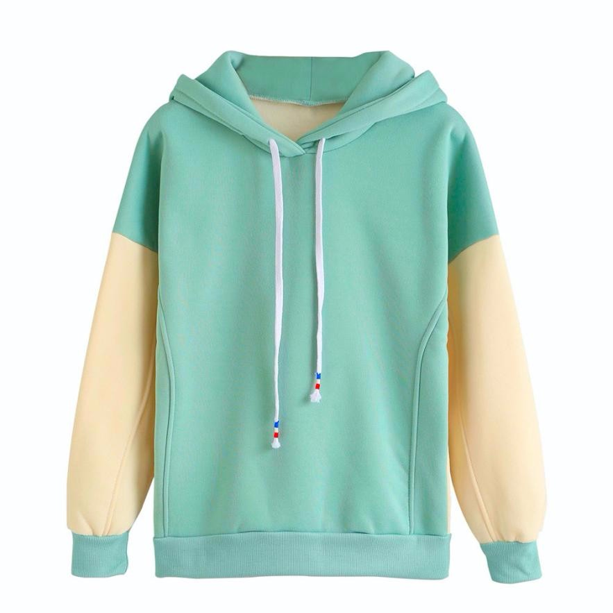Women Hoodie Contrast Color Sweatshirt Jumper Crop Pullover Tops Conjunto Moleton Feminino