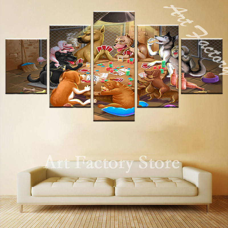 5 Pieces / set Animal City Party Canvas Painting Childrens Room Decoration Canvas Print Pictures