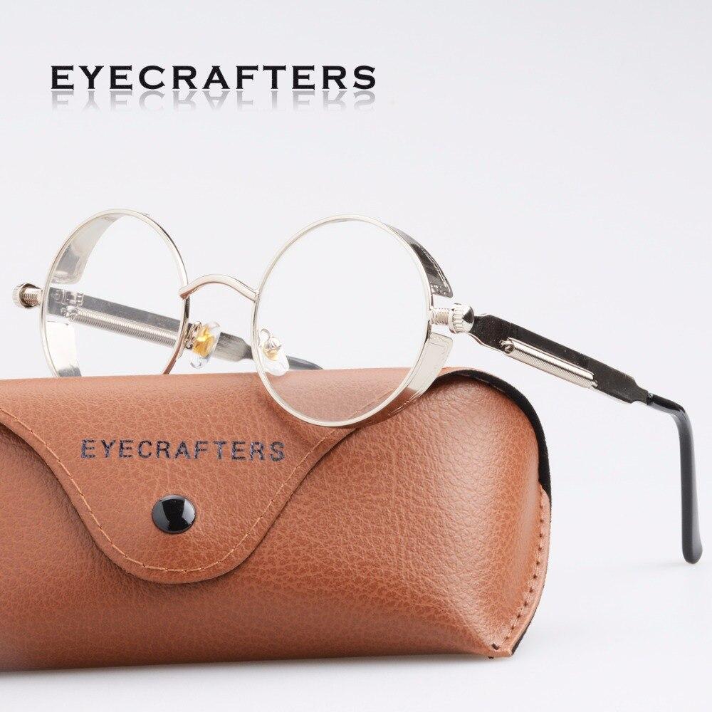 Rétro Vintage Femmes Métal Gothique Steampunk Montures de lunettes Rondes  Hommes Marque Designer Objectif Clair Lunettes ... 19e238ca0173