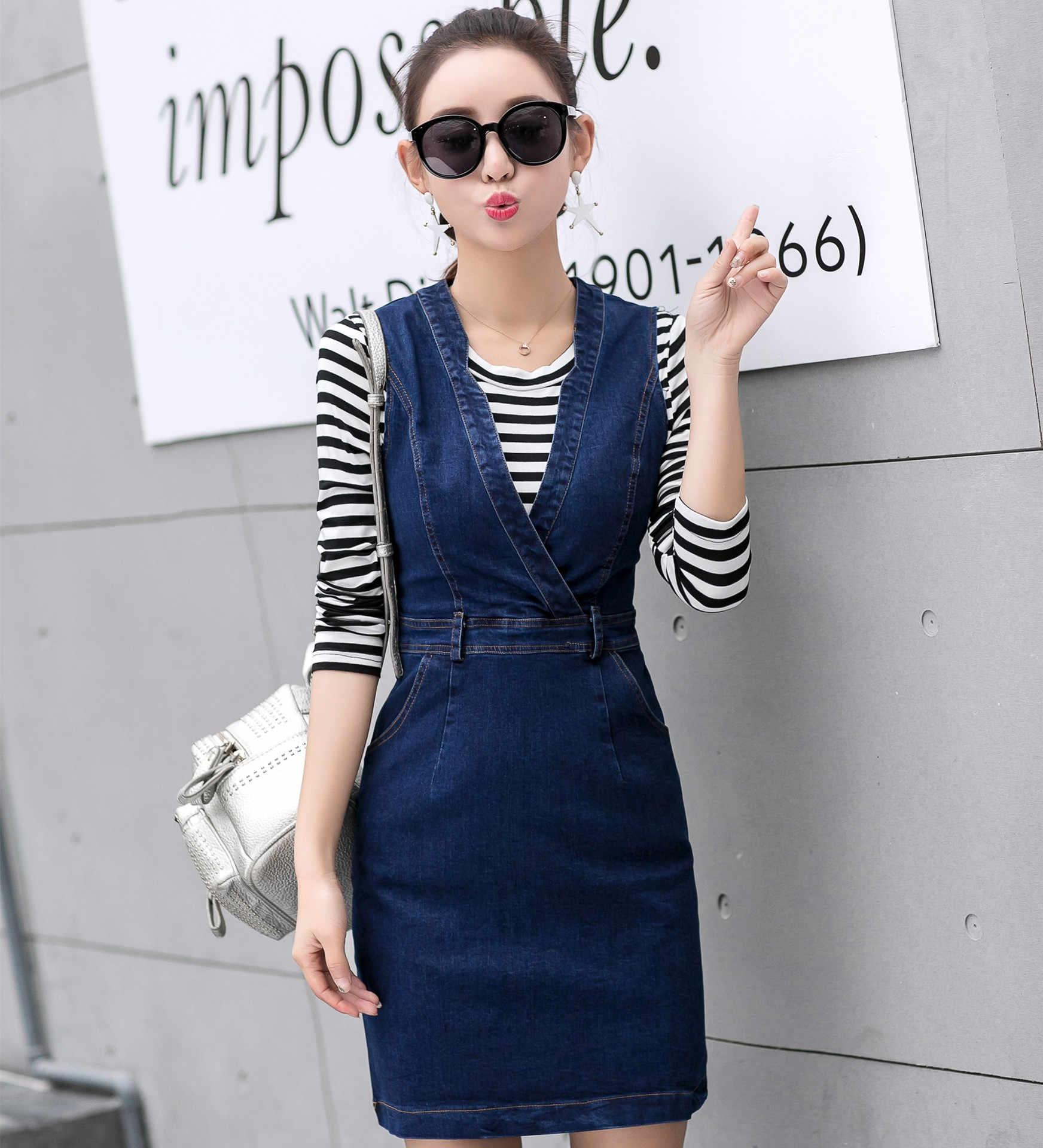 Женский Корейский Осенний тонкий жилет джинсовое платье для женщин из двух частей полосатая футболка джинсовое платье набор офисный элегантный Sukienka