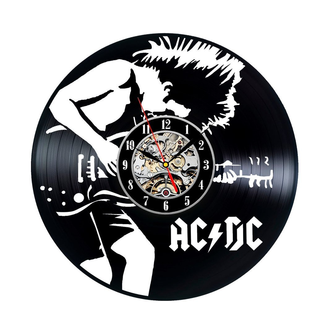 Creative Wall Clock Modern Design Rock Band Vinyl CD Record Clocks Mute Classic AC DC Black Hollow Wall Watch Home Decor 12 inch image