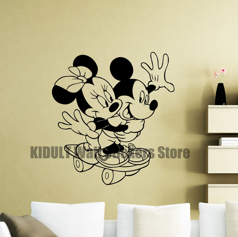 Online Shop Cartoon Wall Stickers Mickey and Minnie Playing ...