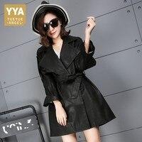 High Quality Genuine Leather Autumn 2018 New Fashion Female Trench Streetwear Sweet Women Jacket Elegant Belt
