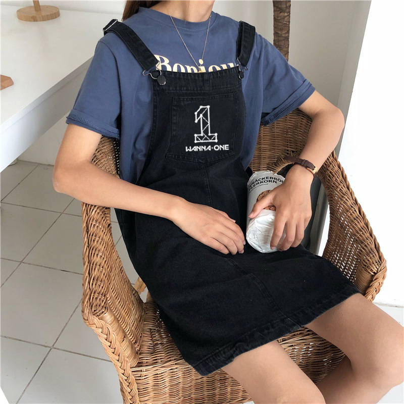 New Kpop WANNA ONE Groups The Same Style Black Denim Skirt Summer Fashion Women Girls Harajuku Casual Dress Vestir Clothes