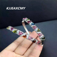 KJJEAXCMY Fine jewelry Pure natural candy color tourmaline lucky 925 Sterling Silver Bracelet for gems