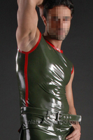 Men Latex Tank Tops Arm Green With Red Trim LSM014