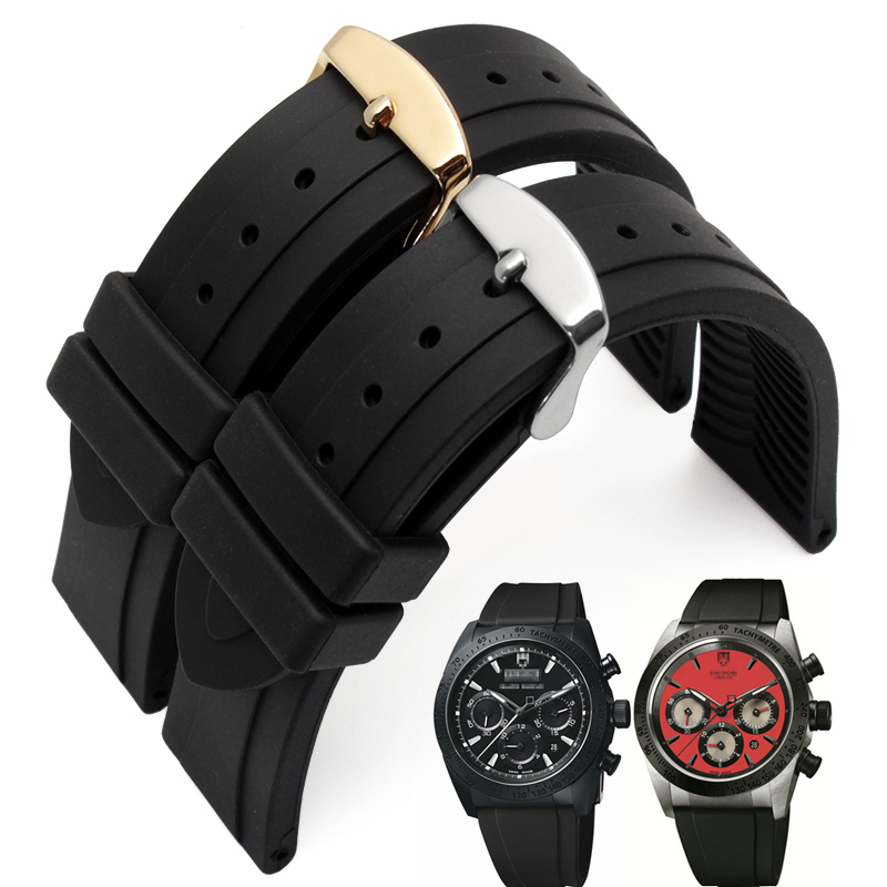 1PCS High quality 19MM rubber watch strap Black color Watch band women and men watch strap Free shipping