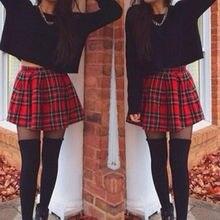 15fe3c1eac Jaycosin mujeres Faldas muchacha Niñas sexy Faldas Escocia Plaid cheques  uniforme escolar Falda plisada algodón Tartan guantes m.