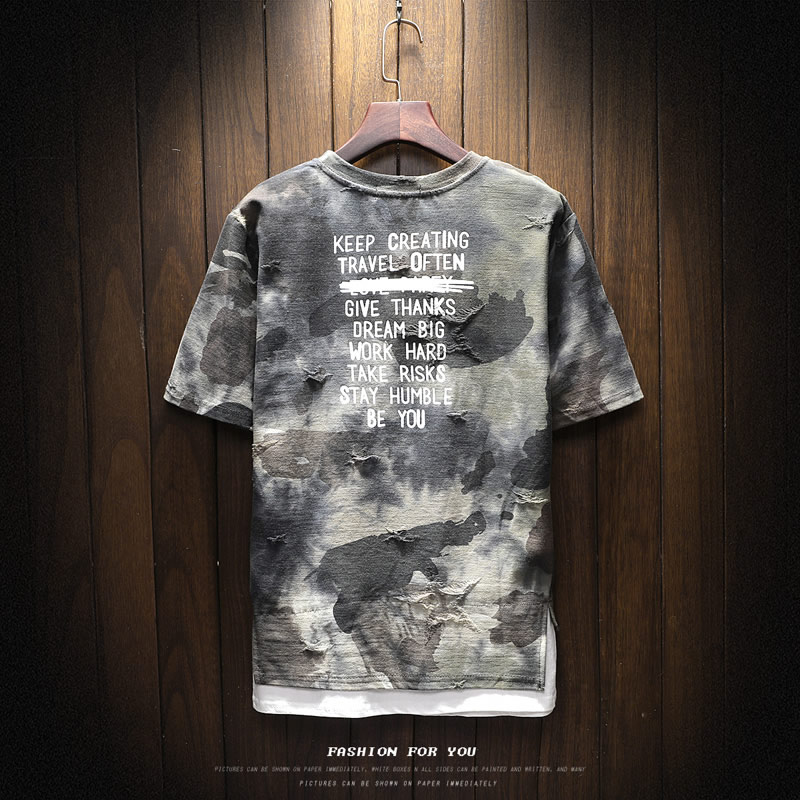 New arrival 2018 summer fashion letter print camouflage short sleeve t shirt for men men's military streetwear t-shirt DTX2 24