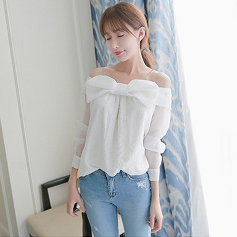 Korean Fashion 2016 Summer Front Big Bow Cute Long Sleeve Ladies Tops Off Shoulder Chiffon ...