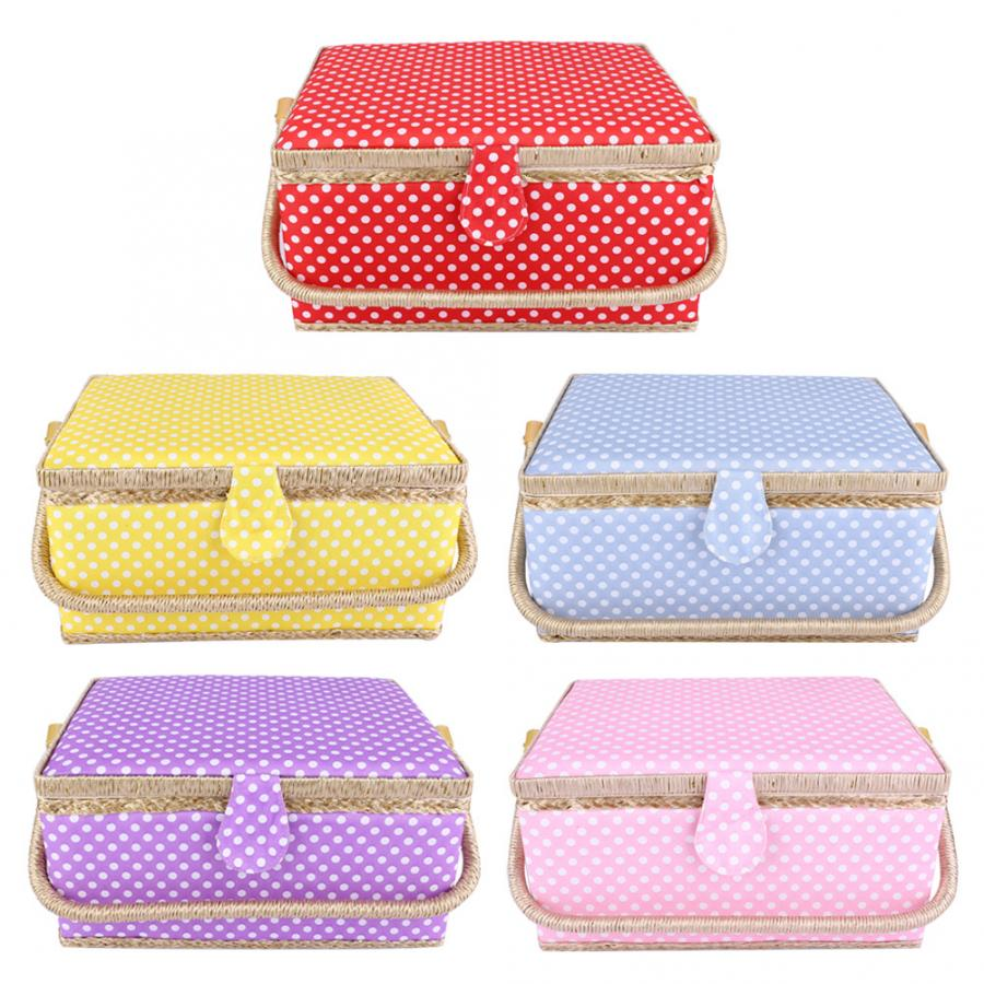 5 Colors Large Sewing Basket Household Fabric Craft Thread Needle Storage Box Organizer Multi-function House Tools